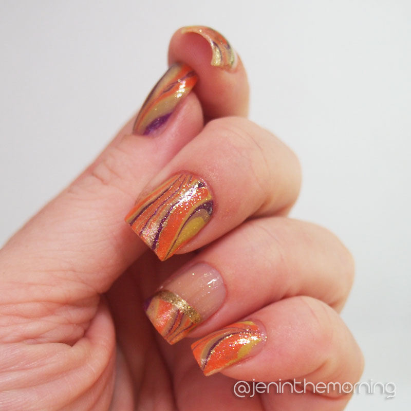 #nailartsep: Seasonal Water Marble