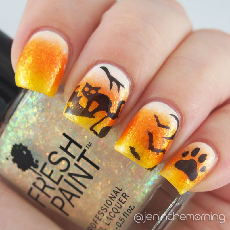 Candy Corn/Black Cat mani for #BHBSpooktober and #npclairestelle8