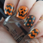 Orange and Black Halloween Manicure