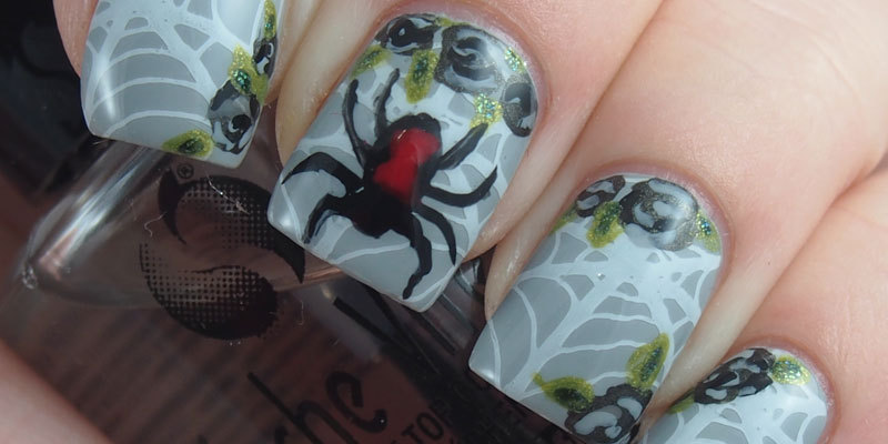 #BHBSpooktober Spiderweb nails