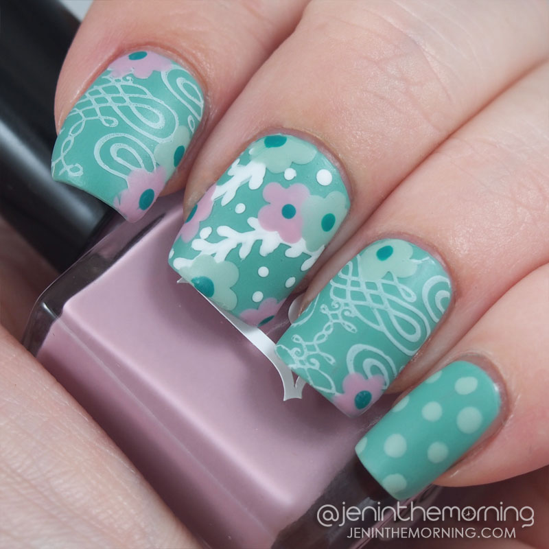 Matted Floral mani using Lucky Lacquer