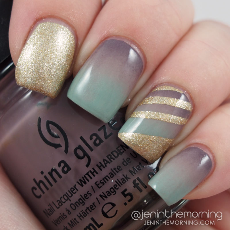 Stormy gradient mani with gold striped accent