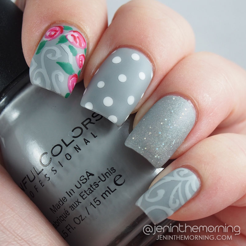 Gray mani with floral accent
