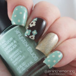 Brown and Blue Floral Dotticure Mani