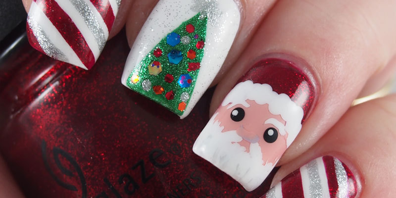 Santa, Christmas Tree and Peppermint mani