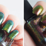 Swatches of ILNP Ultra Chrome Flakies: Open Fields and Electric Carnival