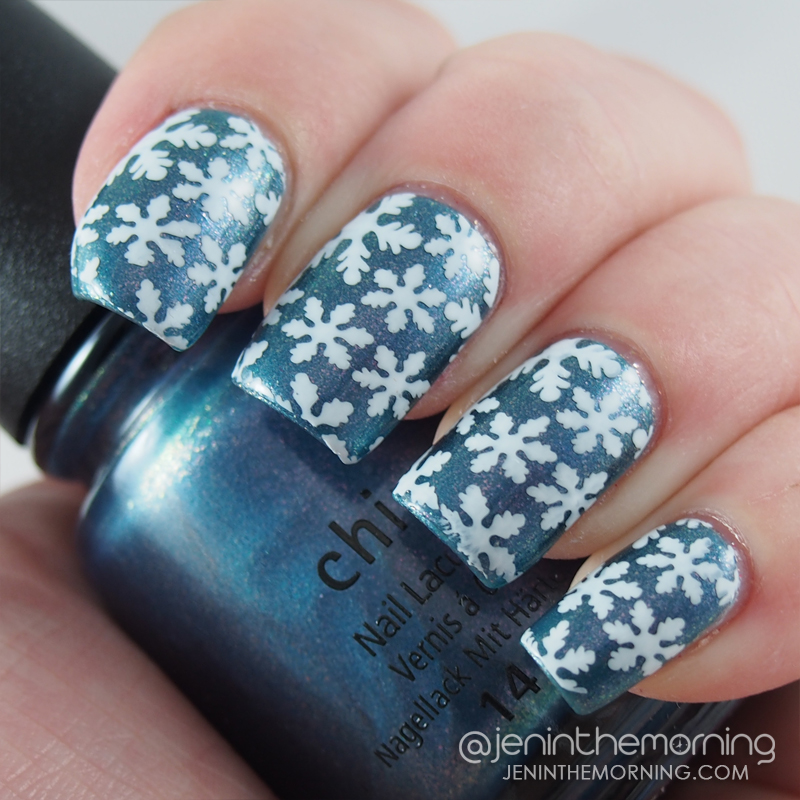 China Glaze - December to Remember stamped with Funky Fingers - Gesso