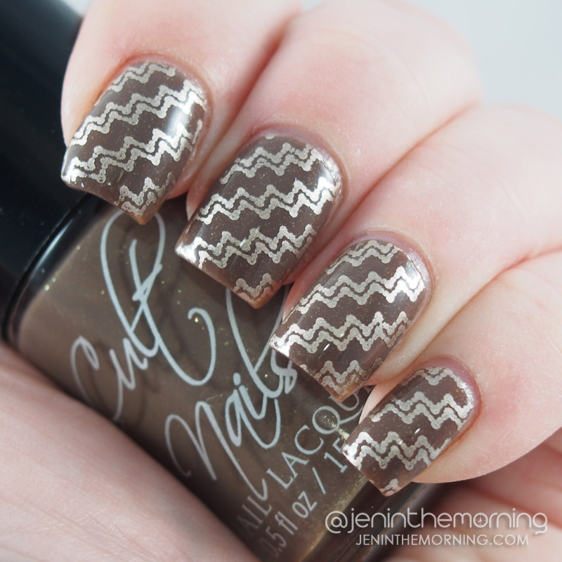 Cult Nails - Tulum stamped with Essie - Good as Gold