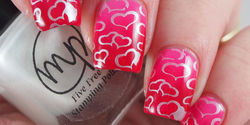 Valentine gradient stamped with Mpolish - Snowberry