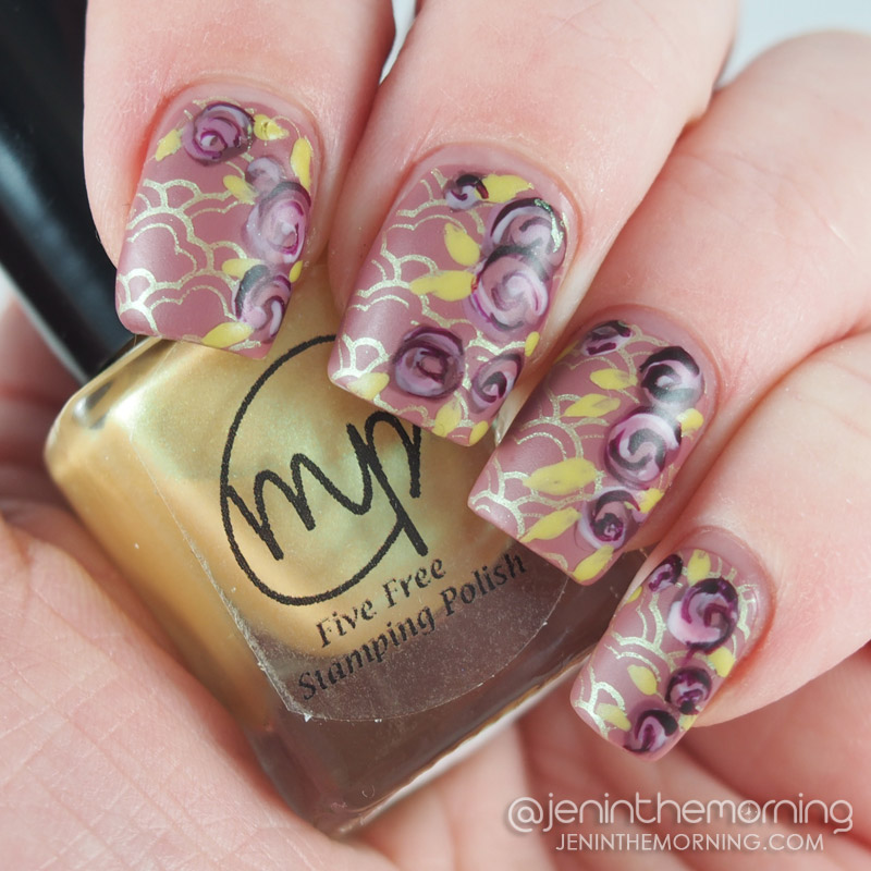 Zoya - Madeline stamped with Mpolish - Sweetclover and Zoya roses