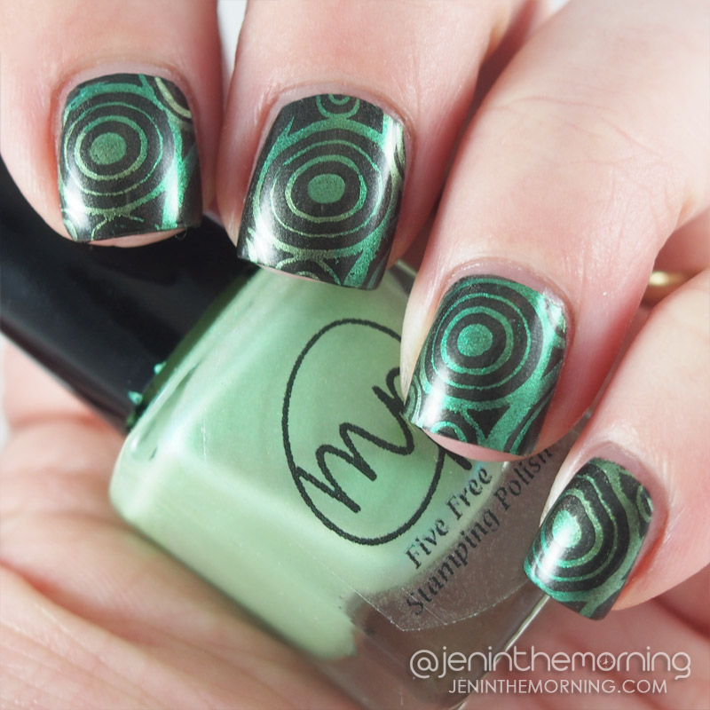 M Polish - Bells of Ireland stamped over Zoya - Claudine