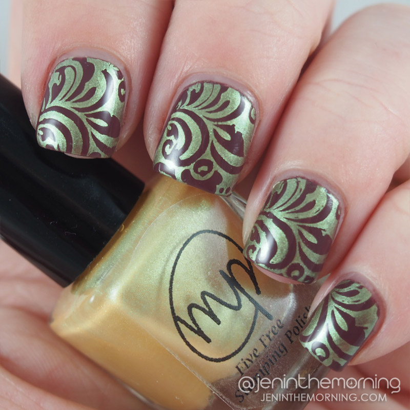 M Polish - Sweetclover stamped over Zoya - Marnie