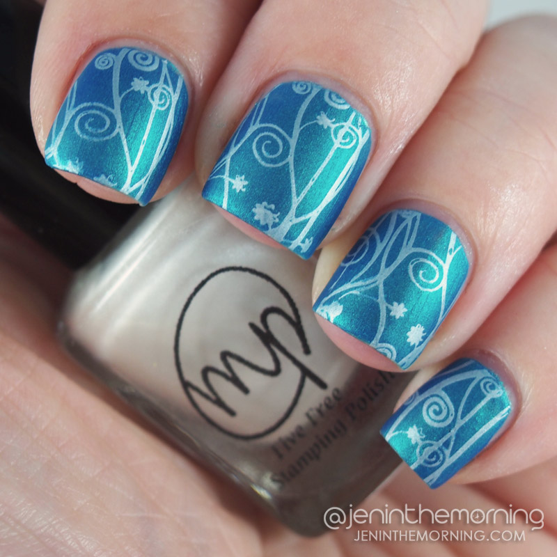 M Polish - Snowberry stamped over Tropez - Aqua Pearl