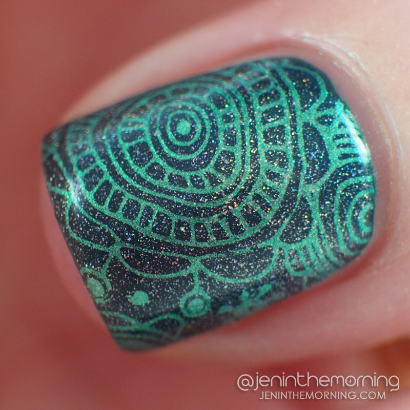 M Polish - Bells of Ireland stamped over Sonia Kashuk - Tumultuous Teal + Chirality Holographic Topcoat