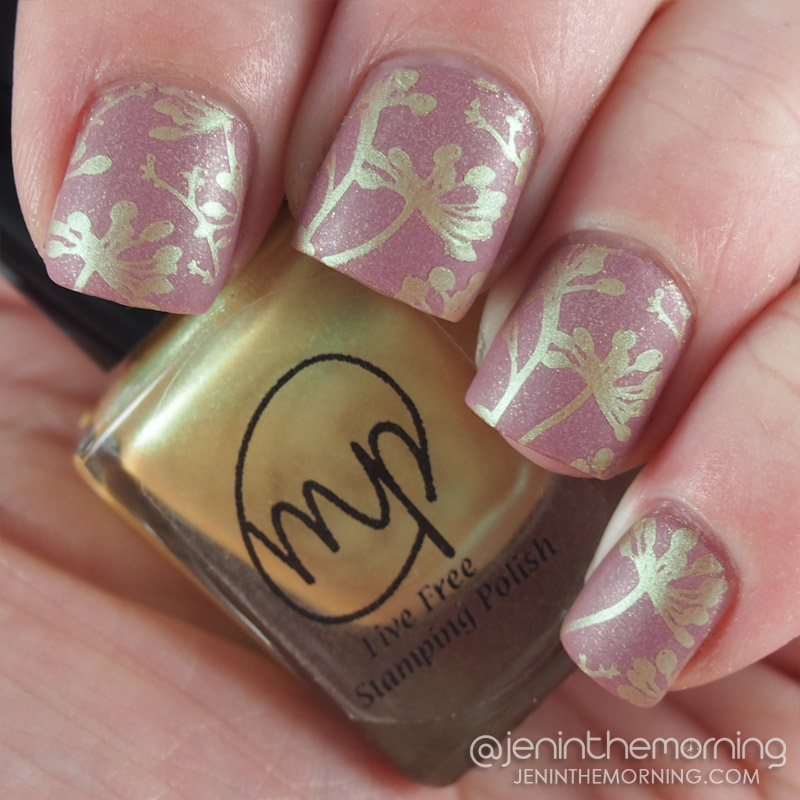 M Polish - Sweetclover stamped over Spa Ritual - Arroyo