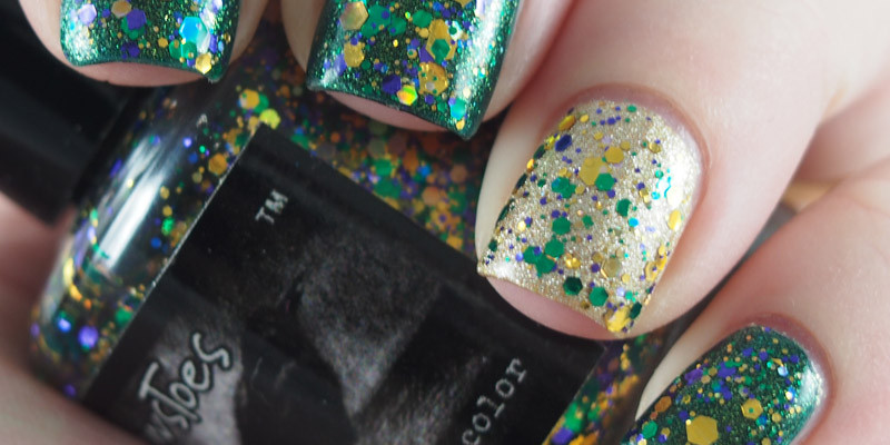 Simple Mardi Grad nails featuring CrowsToes - Bad Catholic