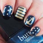 Nautical Nails in Blue and Gold
