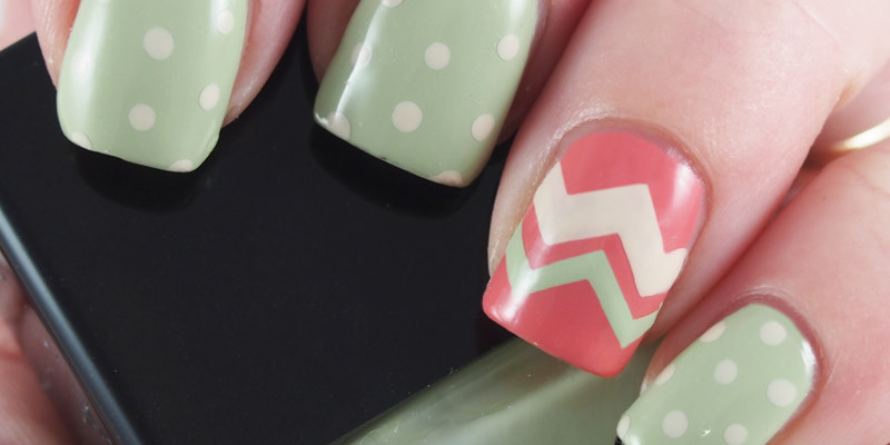 Dusty Spring Colors with a simple dotticure and chevron accent.