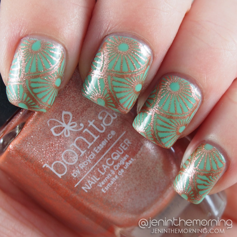 Bonita - Penny For Your Thoughts stamped over Color Club - New Bohemian
