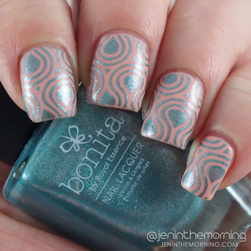 Bonita - Greetings Earthling stamped over Sally Hansen - Floaties