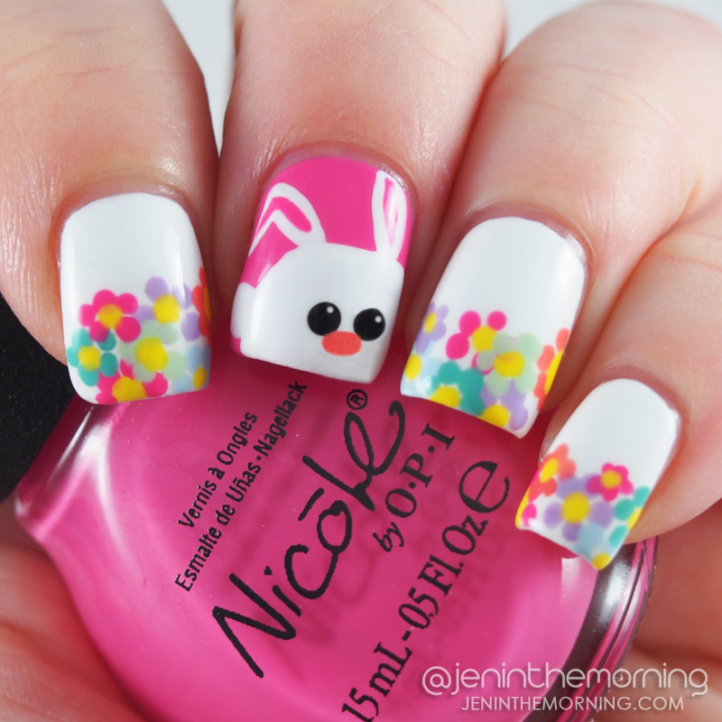 Bunny and Floral Tips - Easter Nails