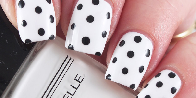 Black and White Polkadot Nails