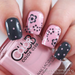 Gray and Pink Polka dot Floral Nails