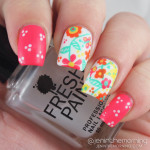 #mommysmanimonday: Summer Floral freehand nail art