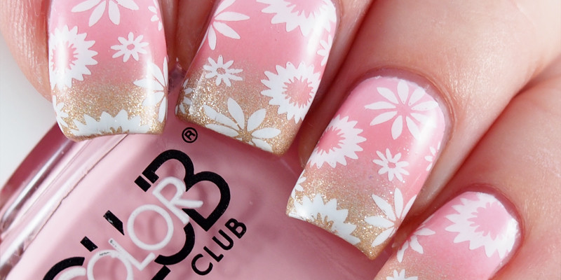 Pink to gold gradient, stamped with flowers