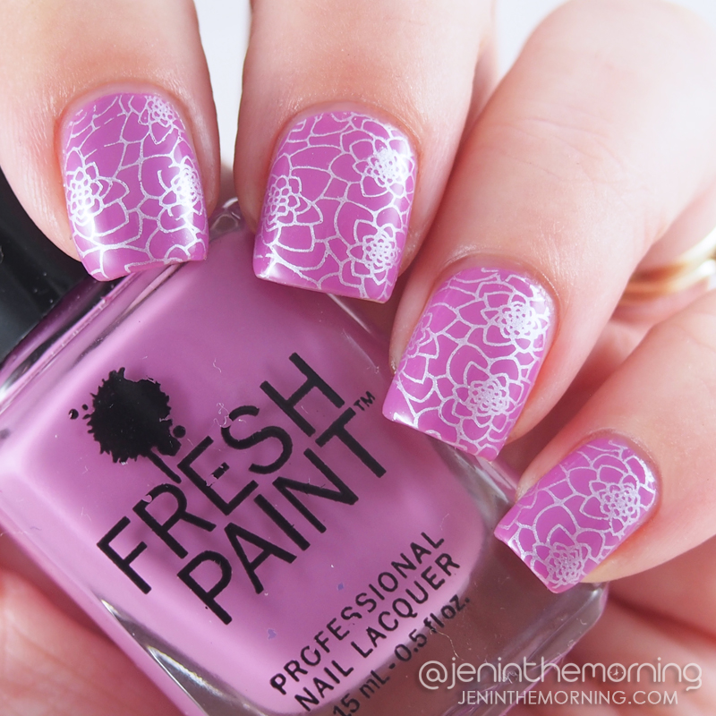 Fresh Paint - Glastonberry stamped with M Polish - Snowberry