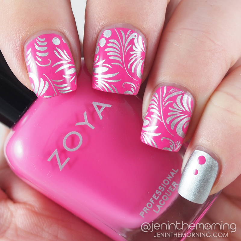 Zoya - Rooney stamped with Essie - No Place Like Chrome and Pet'la - Golden Russian