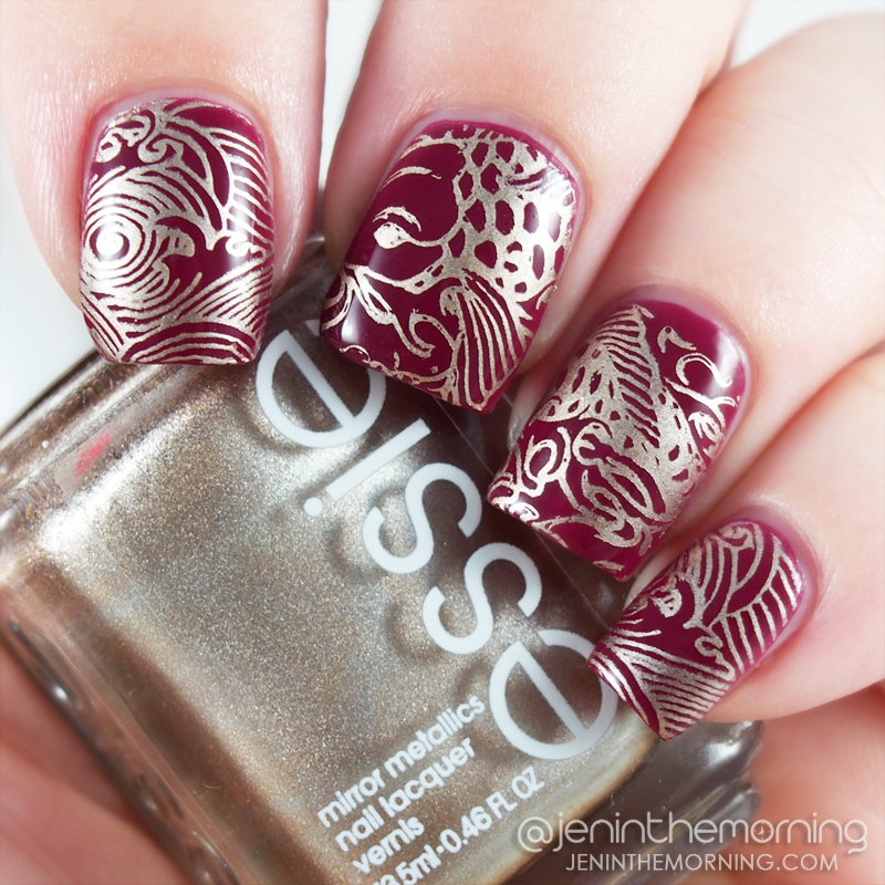 e.l.f - Raspberry Sorbet stamped with Essie - Good as Gold and Pet'la - Rising Sun