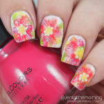 Dry Brush Floral Nails and Tutorial