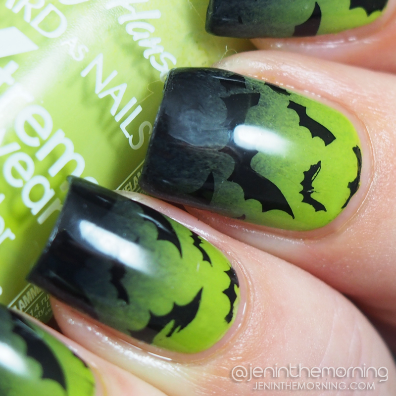 Stamped Bat Gradient Nails