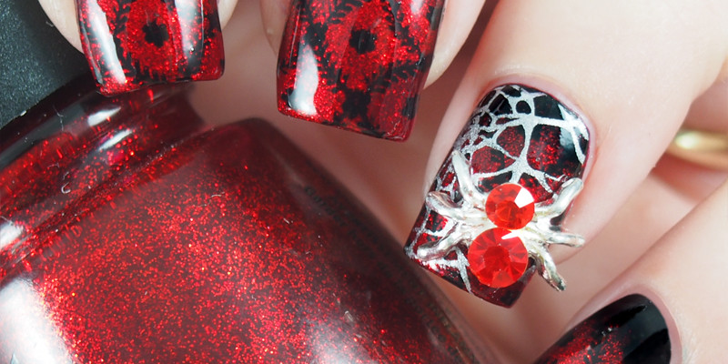 Red and black stamped gradient with spider charm