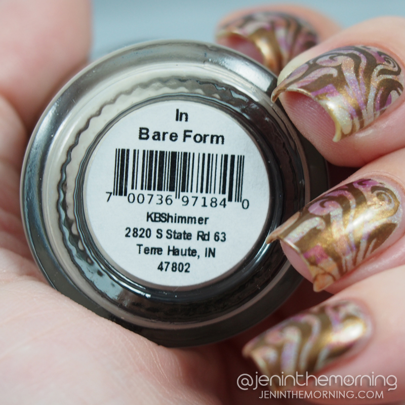 KBShimmer - In Bare Form dry brushed and stamped with M Polish - Elizabethan
