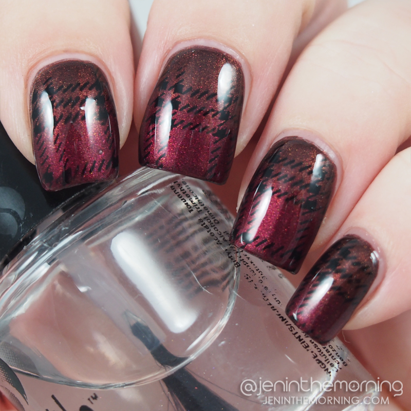 Plaid stamp over Sally Hansen - Cocoa A Go Go and Wet n Wild - Burgandy Frost