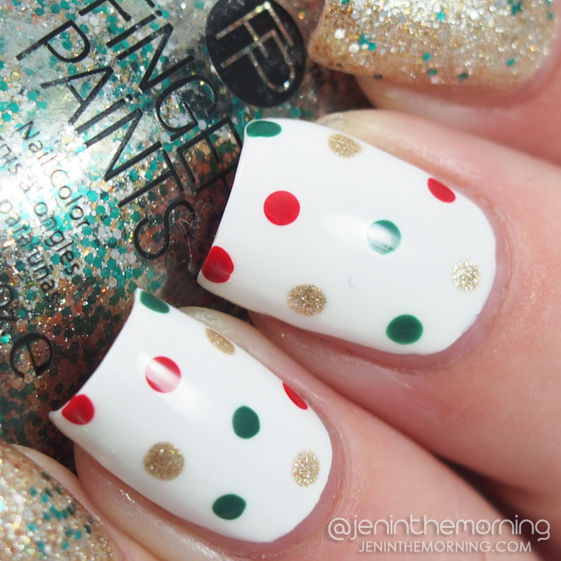 Holiday dotticure featuring polishes by OPI, Sally Hansen, Zoya, Fingerpaints and Barielle