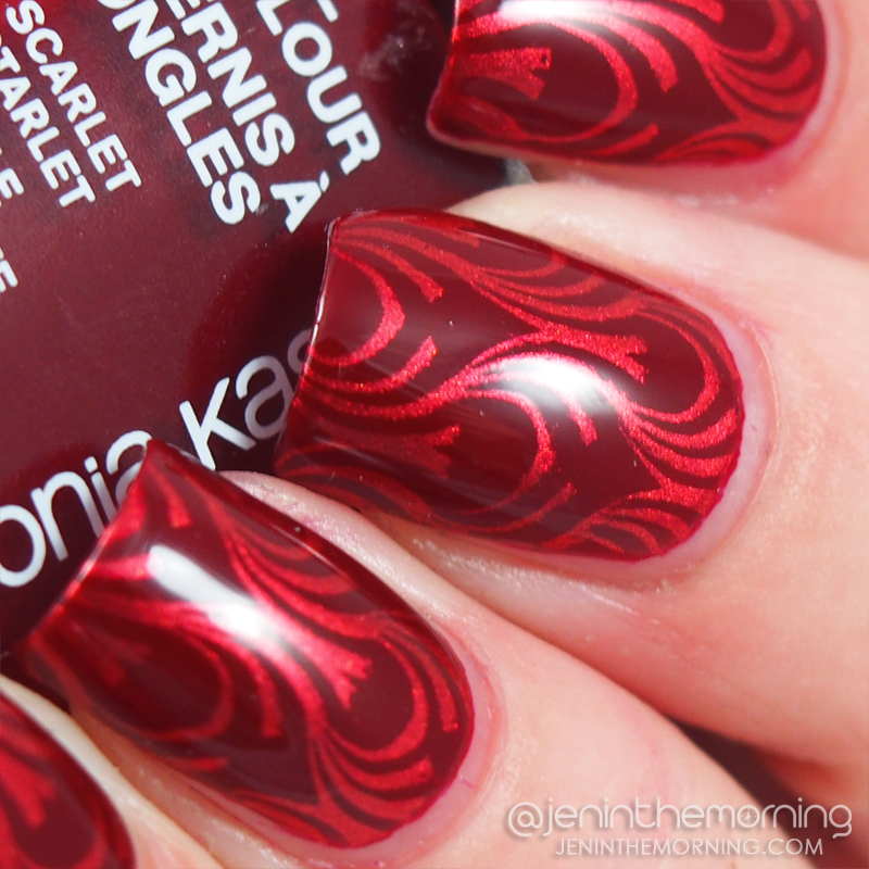 Sonia Kashuk - Scarlet Starlet stamped with M Polish - I Need a Vacation