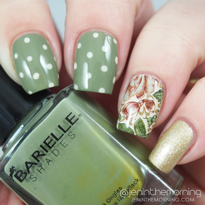 Green shabby chic mani with water slide decal accent