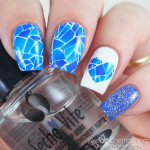 Blue Water Slide Decal Mani with Heart Accent