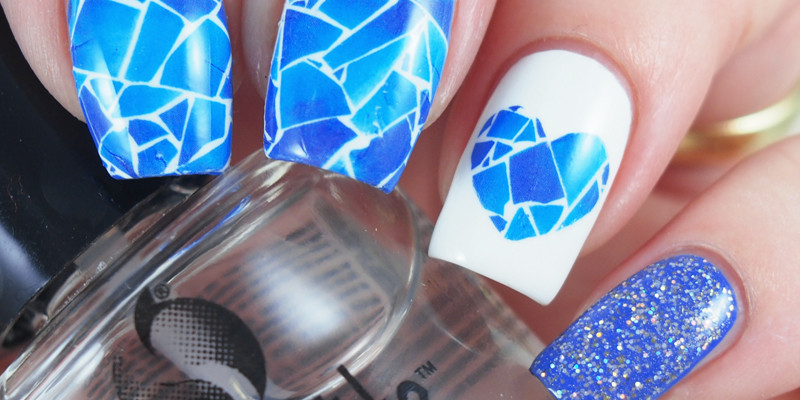 Blue mosaic tile nails