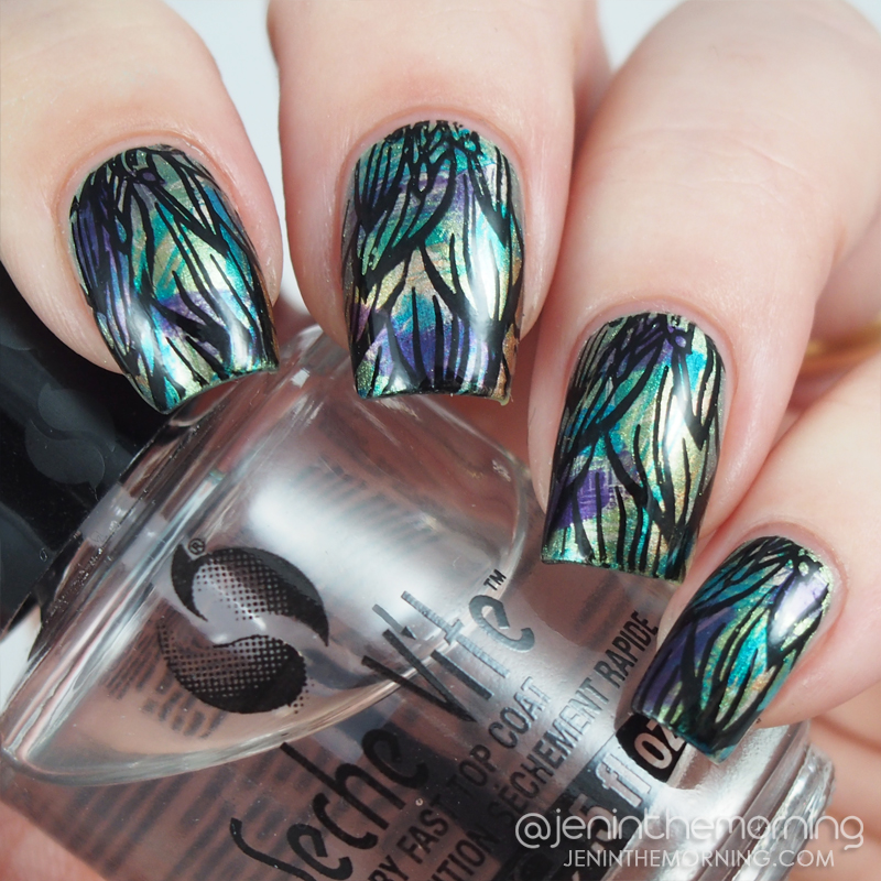 Metallic dry brush with stamping