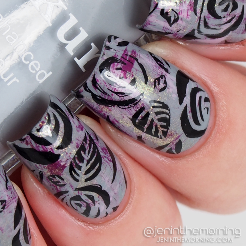 Stamped manicure featuring Londontown Lakur in Earl Grey
