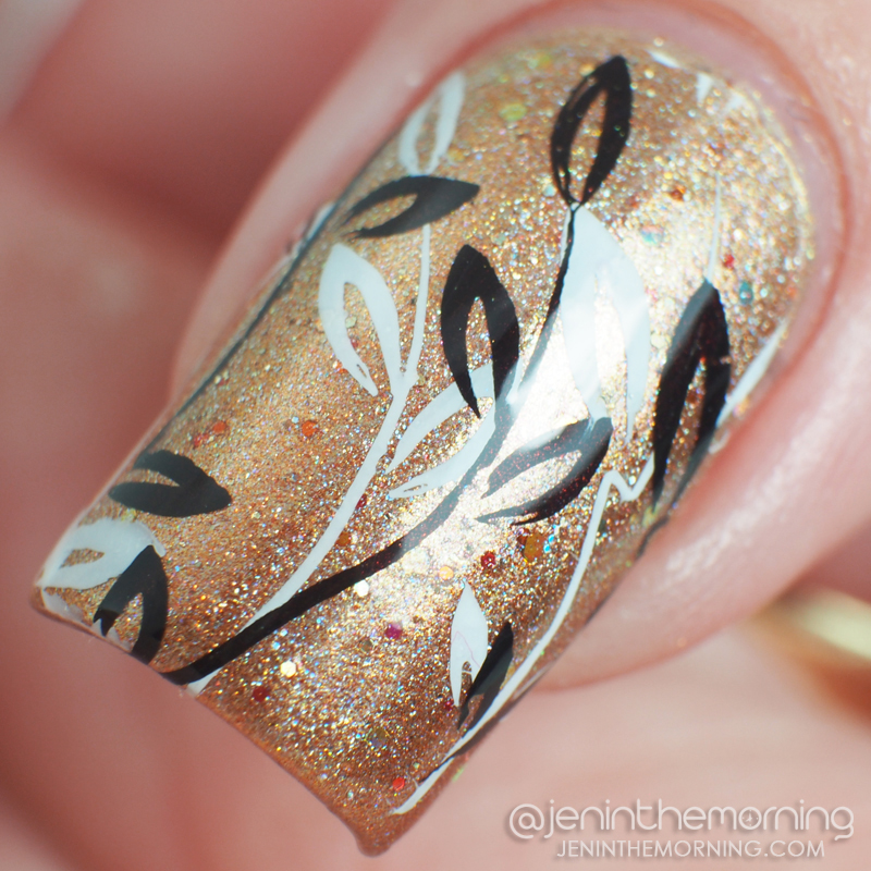 Stamped manicure featuring L'Oreal - Because You're Worth It