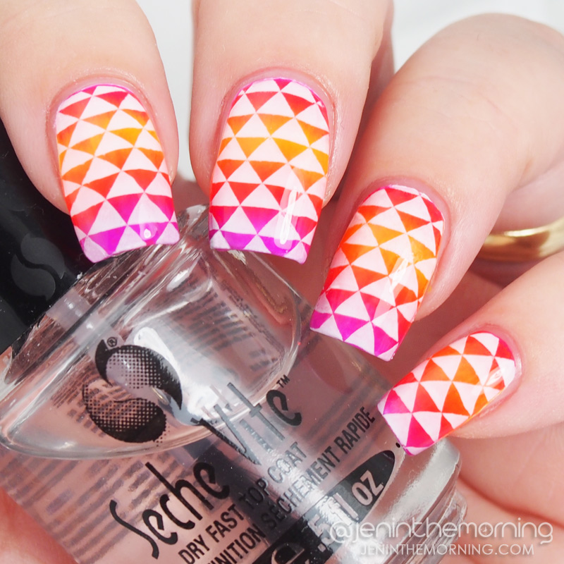 Stamped gradient featuring Color Club neon polishes