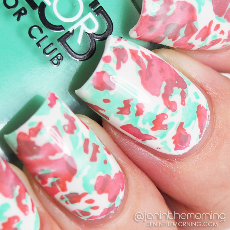 Spring camo featuring Color Club - Age of Aquarius and Sally Hansen - Coral Reef