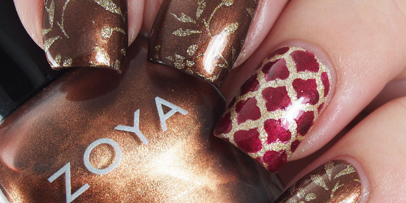Fall skittlette in brown, red and gold featuring Zoya - Cinnamon